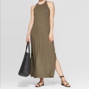 Sleeveless Round Neck Rib Knit Maxi Dress